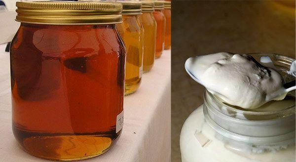 Honig und Joghurt für krauses Haar
