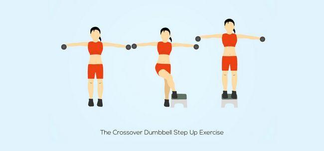 2 Einfache Crossover Übungen Step Up den Oberschenkeln Ton Foto