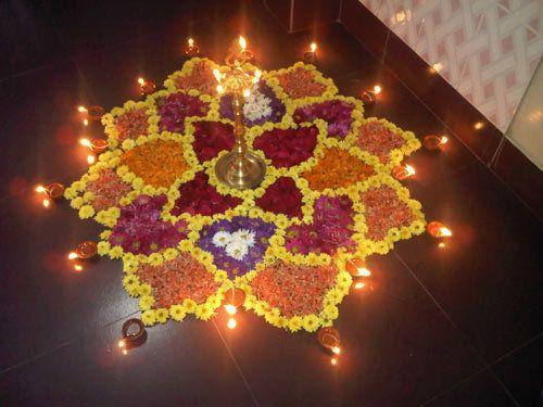 rangoli Designs mit Blumen einfach