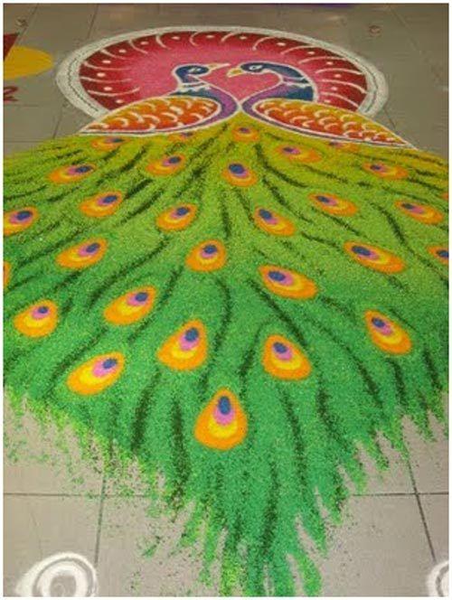 Pfau rangoli Designs für Kinder