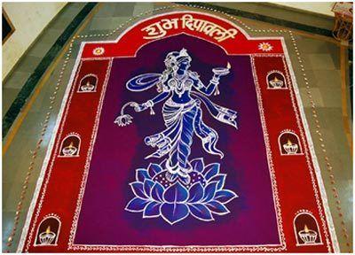 rangoli-Designs zur Farbe