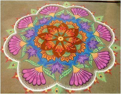 Blume rangoli Muster