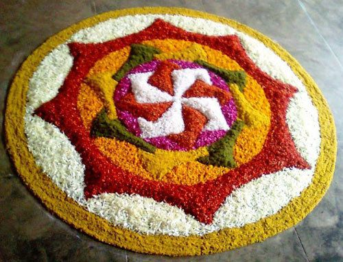 Blume rangoli-Designs mit Punkten