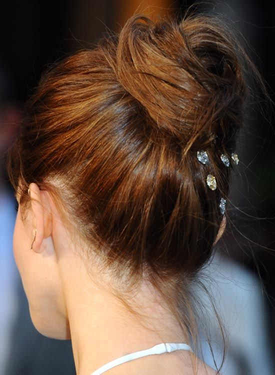 Elegant-Twisted Bun-mit-Kristall-Clips