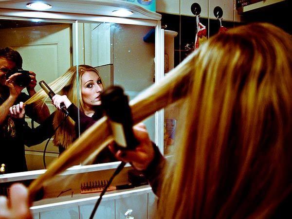 Haarglättungsbehandlung zu Hause