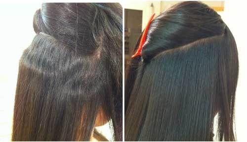 japanische Haarglättungsschritte