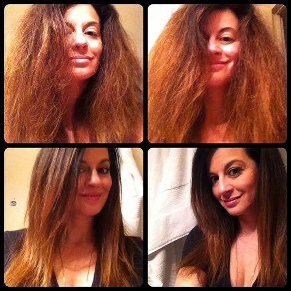 dauerhafte Haarglättung vor und nach
