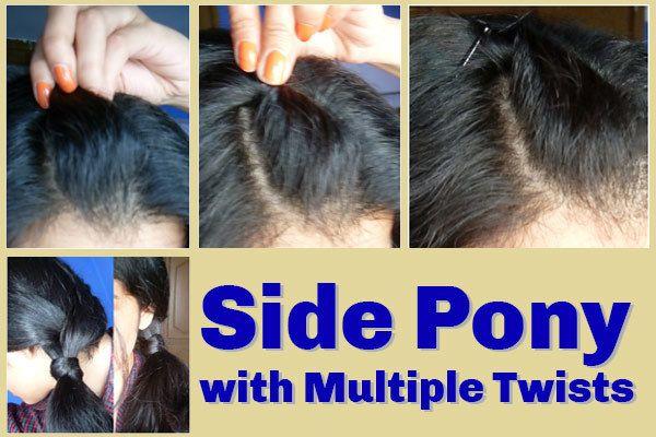 Side Pony mit mehreren Twists - Detaillierte Schritt für Schritt Anleitung mit Bildern Foto