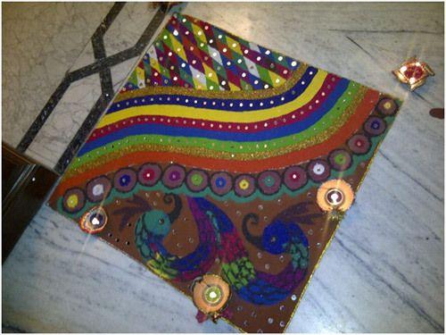 Pfau rangoli Entwürfe für Diwali