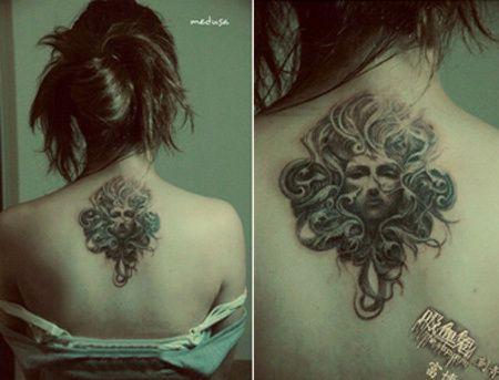 Medusa Upper Back Tattoo