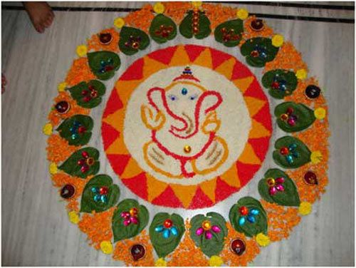 Einfache Ganesha Rangoli