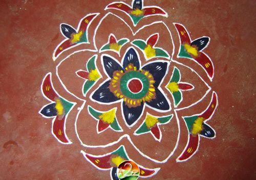 Wet Paint Blumen Rangoli
