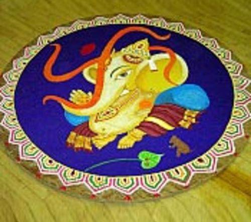 Ganesha Rangoli mit Swastika