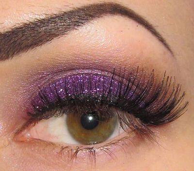 Lila Glitter Schatten Augen-Make-Up