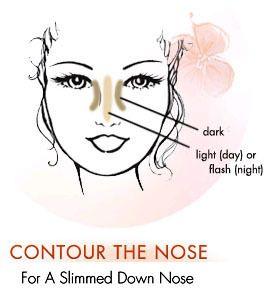 schlanke Nase mit Make-up