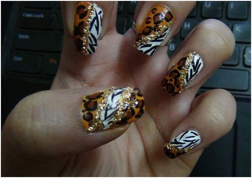 Leopard Punkte mit unverbundenen für Nägel